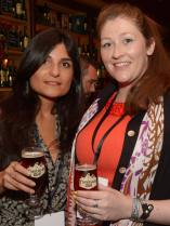 No Reproduction Fee Dilar Herrero, Malaga Spain and Aojfe O'Donovan, Bishopstown, pictured at the launch of the Franciscan Well Jameson-Aged Pale Ale. Pic John Sheehan Photography