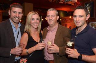 No Reproduction Fee Brian Brown, Irish Distillers, with Ciara Kissane, Leo Brennan and Sean Spillane, Molson Coors, pictured at the launch of the Franciscan Well Jameson-Aged Pale Ale. Pic John Sheehan Photography