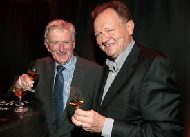 Master Distiller Barry Crockett and Tom Cleary at the launch of Powers Single Cask Release Whiskey at The Temple Bar ,Dublin Pic:Brian McEvoy No Repro fee for one use