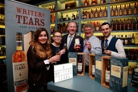 19/10/2017 - Walsh Whiskey Launch at L. Mulligan's Whiskey Shop at the Powerscourt Centre. Pictured were Lucie Bodard; Càit Baxter; Bernard Walsh; Michael Lawlor and Mark McLaughlin. Photograph Nick Bradshaw